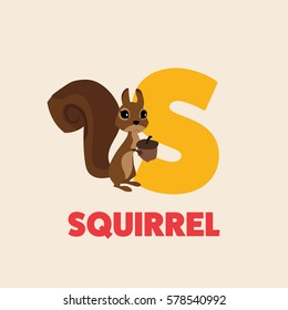 Alphabet abc letter S vector illustration with animal squirrel