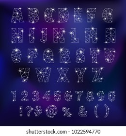 Alphabet ABC vector alphabetical font constellation with letters from stars astromomy alphabetic typography illustration isolated on night background