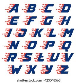 Alphabet with abstract checkered flag. Vector design template elements for your race sportswear, app icon, corporate identity, labels or posters.
