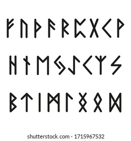 Alphabet with ancient Old Norse runes Set of 25 scandinavian and germanic letters on square white landscape background.