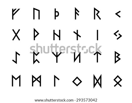 Alphabet Viking alphabet ancient old norse runes futhark stock vector (royalty free