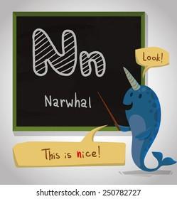 Alphabet Animal, Narwhal, vector