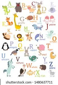 Alphabet animals cartoon print graphic vector artwork for kids