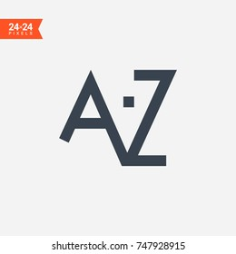 alphabet az line vector icon