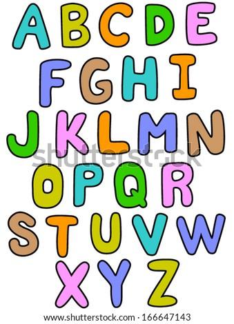 alphabet az outline color stock vector royalty free 166647143
