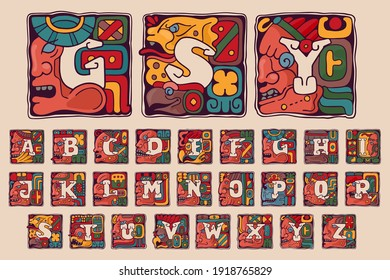 Alphabet in Aztec, Mayan or Incas style. Native American symbol with warrior, conqueror, skull, vulture, and leopard faces. Perfect for ethnic logo, sport emblem, tattoo design and tribal identity.