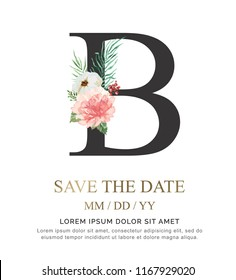 Alphabet B flower font made of paint floral and leaf watercolor on paper. Vector Hand Drawn letter B paint luxury design. Sweet collection for wedding invites decoration card and other concept ideas.