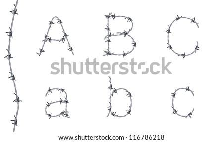 Alphabet Barbed Wire Font Letters B Stock-Vektorgrafik (Lizenzfrei ...