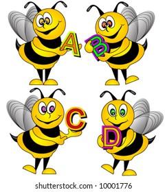 Alphabet Bees Vector.