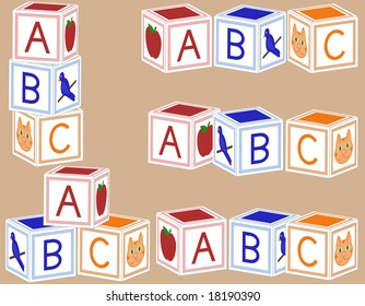 Alphabet blocks arranged in various configurations.