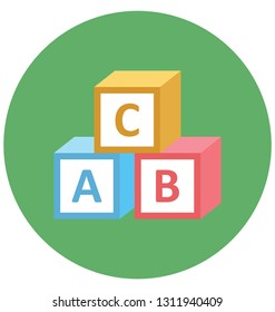 Alphabet Blocks Color Isolated Vector Icon that can be easily modified or edit