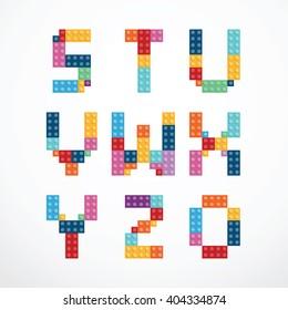 Alphabet blocks style vector set.