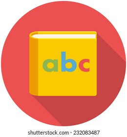 Alphabet book, modern flat icon with long shadow
