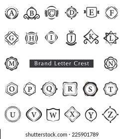 ALPHABET BRAND LETTERS CREST SUCH AS LOGO. Editable vector illustrator file.