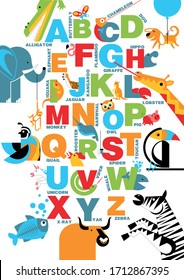 The alphabet with bright, colorful pictures of animals. ABC for the youngest children, poster with the alphabet for children. ABC with animals