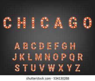 Alphabet with bright light bulbs. Retro cinema and show typeface. Font with lights