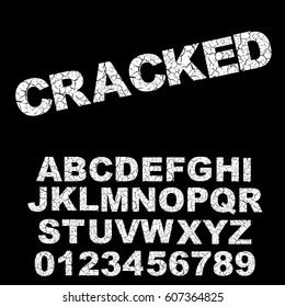 Alphabet broken, cracked font template. Letters and numbers. Vector illustration.