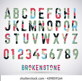 Alphabet broken font set. Colored typeface made of broken stone. Letters and numbers. Vector illustration.