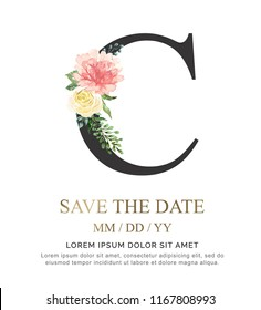 Alphabet C flower font made of paint floral and leaf watercolor on paper. Vector Hand Drawn letter C paint luxury design. Sweet collection for wedding invites decoration card and other concept ideas.