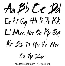The alphabet in calligraphy brush. See the figures and symbols in my portfolio