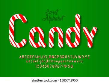 Alphabet candy style vector art and illustration. Christmas candy cane alphabet, vector illustration.