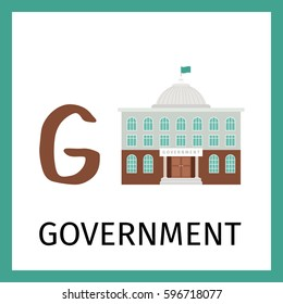 Alphabet card for kids with goverment building. Letter G card vector illustration