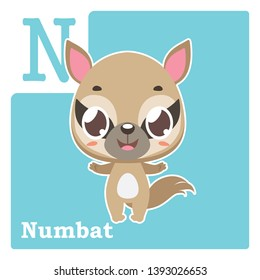 Alphabet card with letter N - Numbat