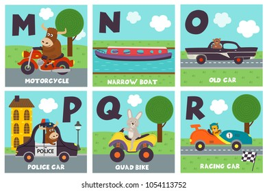 alphabet card with transport and animals M to R - vector illustration, eps