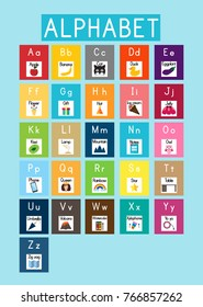 Alphabet cards. English alphabet. Resources for teachers and students.Learning foreign language. Teaching and learning for kids, children, pupils.