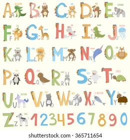 alphabet with  cartoon animals. cute vector zoo