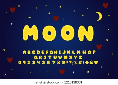 Alphabet cartoon design, moon style. Letters, numbers and punctuation marks. Font vector typography. Layered EPS 10
