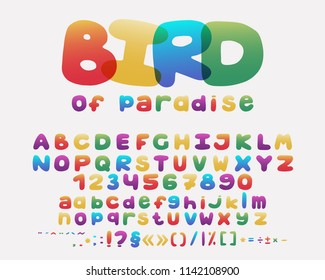 Alphabet cartoon design. Rainbow style. Uppercase and lowercase letters, numbers and punctuation marks. Font vector typography. Hand drawn. EPS10