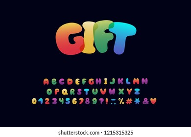 Alphabet cartoon design. Rainbow style. Letters, numbers, punctuation marks. Font vector typography. EPS 10