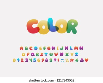 Alphabet cartoon design. Rainbow style. Letters, numbers and punctuation marks. Font vector typography. Layered EPS 10