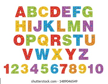 alphabet for children. Kids learning material. Card for learning alphabet. colored alphabet and numbers in white dots and stars