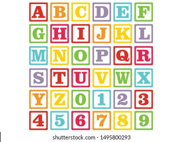 alphabet for children. Kids learning material. Card for learning alphabet and numbers. color alphabet and numbers in square