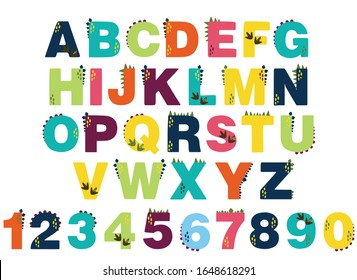 alphabet for children. Kids learning material. Card for learning alphabet and numbers. color alphabet with dinosaurs