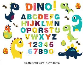 alphabet for children. Kids learning material. Card for learning alphabet . color alphabet with dinosaurs