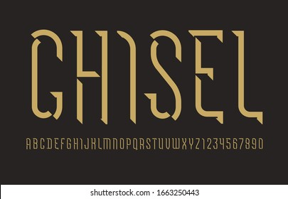 Alphabet from chiseled block, font, beveled Latin letters and Arabic numbers, vector illustration 10EPS for you design
