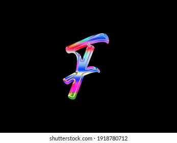 Alphabet Chromatic effect Chromatic Holographic Texture Realistic chromatic aberration character vivid, abstract and colorful psychedelic  letter logo design