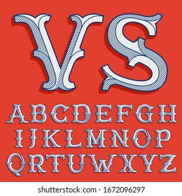 Alphabet in classic sport team style. Vintage slab serif font with lines shadow. Perfect for victorian identity, luxury package, retro book, western diploma, etc.