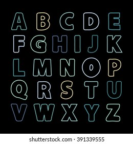 Alphabet color line .Alphabet vector .Vector alphabet.Vector Alphabet isolated.Vector Alphabet flat style.Vector Color Alphabet.Vector font isolated on black background .Vector Type.