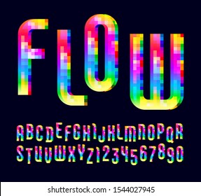 Alphabet from colorful square elements of neon color, trendy bright font, modern vibrant letters and numbers, vector illustration 10EPS