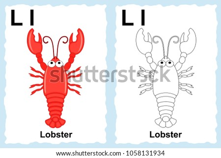 Alphabet Coloring Book Page With Outline Clip Art To Color Letter L Lobster