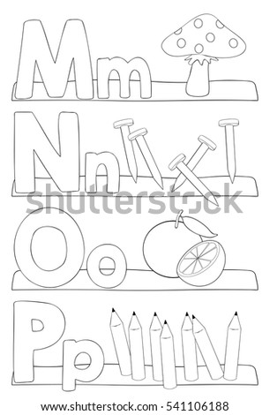 Alphabet Coloring Page Letters M N Stock Vector Royalty Free