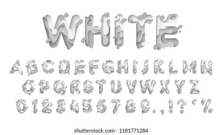 Alphabet colors white. Paper cut letter. Fluid typeface, texture style papercut. Design 3d sign isolated on white background. Alphabet font of melting liquid.