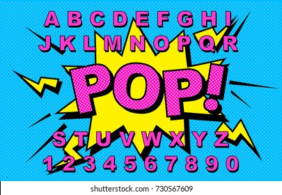 Alphabet Comic retro yellow. Letters,numbers for kids illustrations, websites, comics, banners. Vector Comic alphabet. Pop-art Cartoon ABC Lettering Font. Comics speech bubble bang for explosions.Pop!