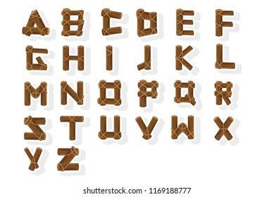 Alphabet constructed by wooden tree trunks. Vector art