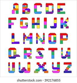 Alphabet created from lego blocks. Vector cartoon playing bricks.Children Alphabet Vector Set - More Letters in Portfolio.