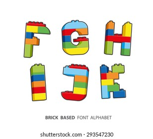 Alphabet created from playing bricks.